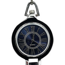 Case Blue Dial with Roman Numerals ShoppeWatch Pocket Watch with Chain Silver