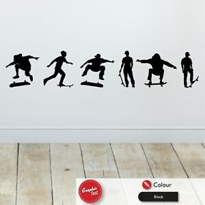 Skater Wall Art Stickers x6 Skateboarding Extreme Sports Bedroom Vinyl Decals