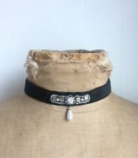Antique Victorian Art Deco Look Black Velvet Wedding Pearl Choker Necklace