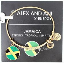 NEW ALEX AND ANI Jamaica Flag GOLD Enamel Charm Bangle Bracelet