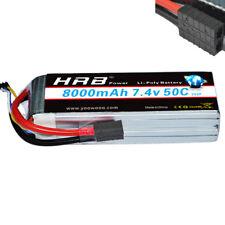 7.4V 8000mAh 50C-100C LiPo Battery 2S2P Traxxas E-Revo E-Maxx Slash Stampede 4x4