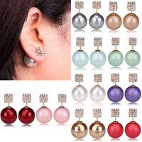 PT_ LC_ da donna doppi lati Perle finte quadrato strass Orecchini a Perno moda