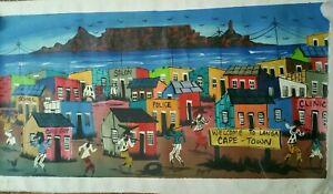 Folk art Maganga South Africa Cape Town native boho oil painting ethnic Langa