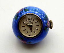 Antique Cobalt Blue Guilloche Enamel Ball Watch by BUCHERER