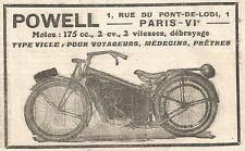 W7911 Motocicletta 175 cc. POWELL - Pubblicità del 1925 - Old advertising
