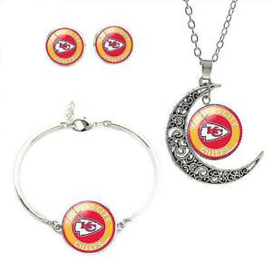 NF09 Kansas City Chiefs team logo set -necklace, bracelet, earrings-