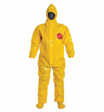 (2) DUPONT TYCHEM 9000 HOODED COVERALLS 3X YELLOW HAZMAT CHEMICAL WASTE CLEANUP