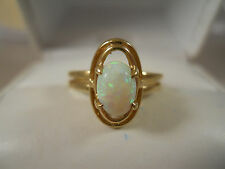 VINTAGE WIDE 10K YELLOW GOLD NATURAL WHITE FIRE OPAL ART DECO HALO RING 6.25