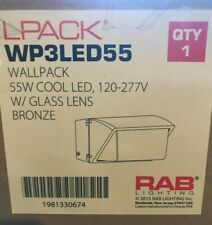 RAB WP3LED55 LED WALLPACK 55W 5000k 7000 lumen 120-277V GLASS LENS BRONZE LPACK
