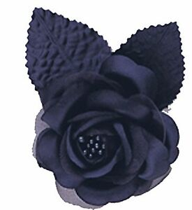 "12 silk roses wedding favor flower corsage navy blue 2.75"""