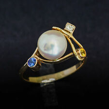 PEARL RING 8.4mm CULTURED SOUTH SEA PEARL DIAMOND SAPPHIRES  9K GOLD SIZE P NEW