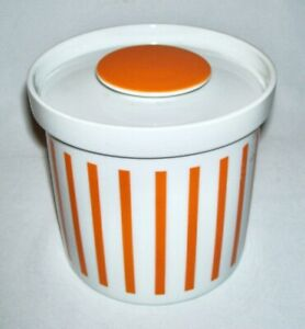SCHMID (Lagardo Tackett) ~ MCM Orange Striped Porcelain CANISTER - CONTAINER