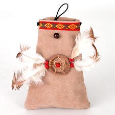 Brustbeutel Wildleder Beutel Tasche Traumfänger mit Federn 11x15cm Indianer