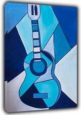 Cubit Blue Guitar Paint By Pablo Picasso Reprint On Framed Canvas Wall Art Deco