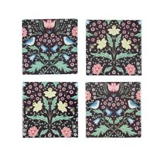 Sass Belle Midnight Garden Stoneware Coasters X 4 Arts & Craft Morris Like Bird