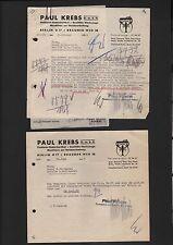 BERLIN, 2 x Rechnung 1940/44, Paul Krebs GmbH Tischlerei-Bedarfsartikel