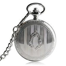 Luxury Shield Stripe Automatic Mechanical Wind Up Men Pocket Watch Chain Gift