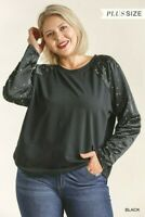Umgee Black Terry Knit Top with Gold Star Detail Plus Size XL 1XL 2XL