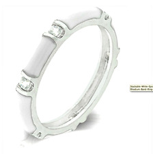 Silver White Enamel Eternity Ring Band Stackable Cubic Zirconia Size 10 USSeller