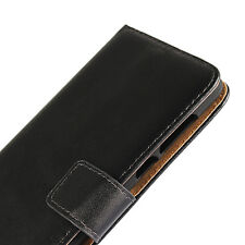 For Nokia 3 5 6 8 Black Genuine Leather Business Wallet Money Card Case Cover