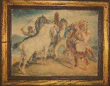 Antique Framed Print Algerian Horse Market Traders Arabian Desert Gericault Rare