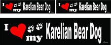 3 I love my Karelian Bear dog bumper vinyl stickers decals 1 large 2 small