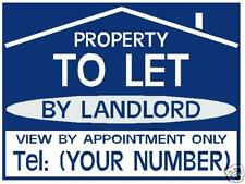 TO LET / FOR SALE sign boards BLUE x2 Personalised