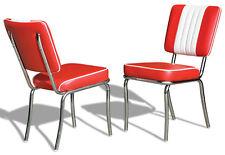 2 US 1950 Retro Vintage Style Diner Restaurant Kitchen Furniture Chair CO24 Red