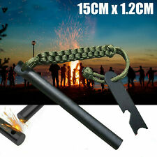 Ferrocerium Flint Rod 15cm x 1.2cm Survival Fire Starter with Striker Para-cord