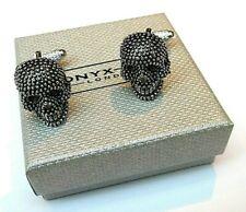 """SKULL"" Black & Silver detail SKULL HEAD Style Metal CUFF LINKS in GIFT BOX-NEW"