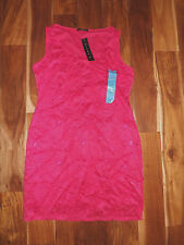 NWT Womens TIANA B. Hot Pink Lace Sleeveless Dress Size S Small $98