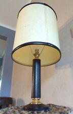 ANCIEN LAMPE TABLE Jacques ADNET-Le TANNEUR-Cuir NOIR LAITON-DESIGN 60
