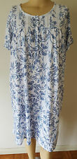 NWT Womens Croft & Barrow S/S Knit Cotton Blend Nightgown White Blue Floral