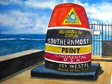 Watercolor Painting Key West Island Southernmost Point 90 miles to CUBA Art 5x7