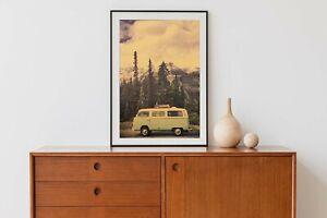 """Retro Kraft Paper Poster """"Volkswagen Campervan on the Road"""" 51 x 35 cm"""
