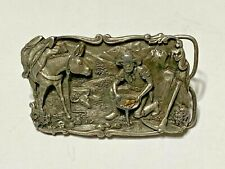 Gold Panning Miner / Mule Belt Buckle 1981 B-10 Siskiyou Leather and Buckle Co.