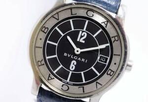 Authentic Bvlgari Solo Tempo ST35S Swiss Men's Quartz Watch 35mm Black Dial
