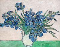 Vincent van Gogh 1890, Vase with Irises, Fade Resistant HD Art Print or Canvas