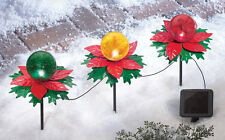 Set of 3 Solar Powered Lighted Poinsettia Gazing Balls Christmas Garden Stakes