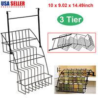 3Tier Spice Rack Kitchen Cabinet Storage Organizer Pull-Down Design Coated Steel