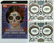 2 DAY OF THE DEAD Dia de los Muertos Glitter Flower Face Mask Temporary Tattoo