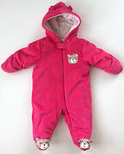 Little Wonders Baby Girls Suit Fleece Footed One Piece Pajama Pink Bear 3-6 Mos