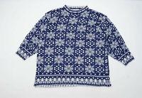 Venezia Womens Size 26-28 Geometric Blue Christmas Festive Snowflake Jumper (Reg