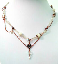 NEW EVITA PERONI BRONZE NECKLACE CHAIN GLASS BEADS & CRYSTALS DELICATE - VINTAGE