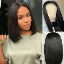 Synthetic Lace Front Wigs Short Bob Straight Natural Black Color Full Hair Wig