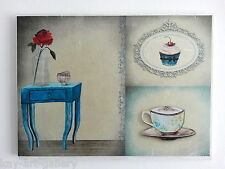 Wall Picture Plaque , Vintage Retro style Handmade / Dinning Room / Decoupage