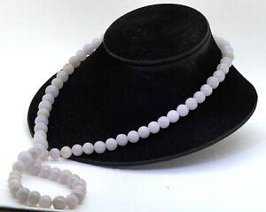 "32"" extra long Lavender jadeite jade 10.3-12.6mm bead strand necklace"