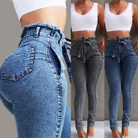 Damenjeans Röhrenjeans mit Gürtel Jeans Hose Röhre High Waist Jeanshose Leggings
