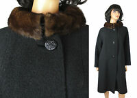Mink Collar Coat L Vintage 60s Brown Fur Black Wool Boucle Long Winter Jacket