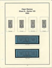 U. S. Revenue Cigar Stamps Class A - Series 123, 1953 PRISTINE (LN103)